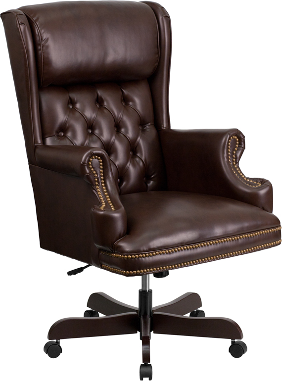 Wholesale High Back Traditional Tufted Brown Leather Executive Ergonomic Office Chair with Oversized Headrest & Nail Trim Arms