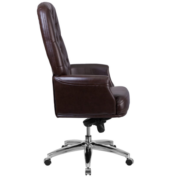 Lowest Price High Back Traditional Tufted Brown Leather Multifunction Executive Swivel Ergonomic Office Chair with Arms
