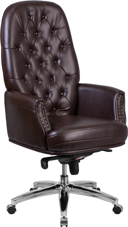 Wholesale High Back Traditional Tufted Brown Leather Multifunction Executive Swivel Ergonomic Office Chair with Arms