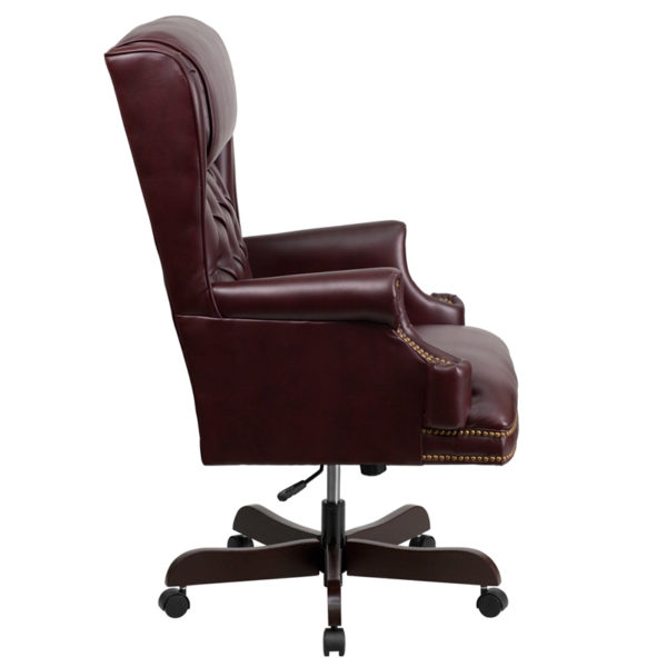 Lowest Price High Back Traditional Tufted Burgundy Leather Executive Ergonomic Office Chair with Oversized Headrest & Arms