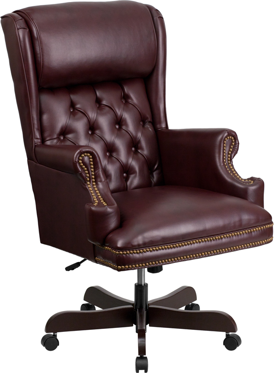Wholesale High Back Traditional Tufted Burgundy Leather Executive Ergonomic Office Chair with Oversized Headrest & Arms