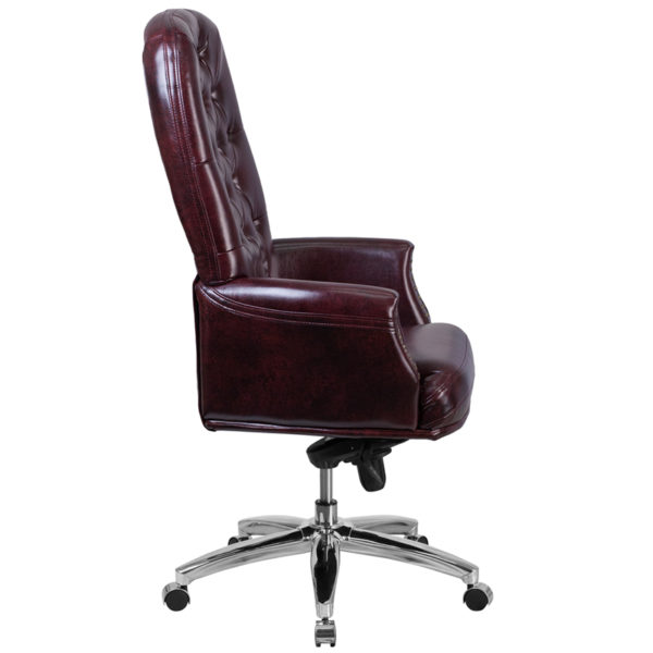 Lowest Price High Back Traditional Tufted Burgundy Leather Multifunction Executive Swivel Ergonomic Office Chair with Arms