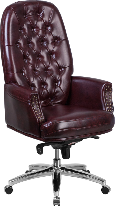 Wholesale High Back Traditional Tufted Burgundy Leather Multifunction Executive Swivel Ergonomic Office Chair with Arms