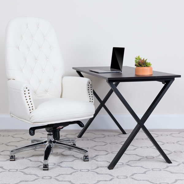 Lowest Price High Back Traditional Tufted White Leather Multifunction Executive Swivel Ergonomic Office Chair with Arms