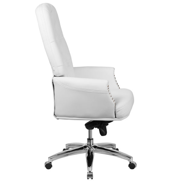 Traditional Office Chair White High Back Leather Chair