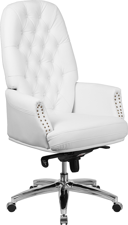 Wholesale High Back Traditional Tufted White Leather Multifunction Executive Swivel Ergonomic Office Chair with Arms