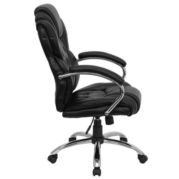 Lowest Price High Back Transitional Style Black Leather Executive Swivel Office Chair with Arms