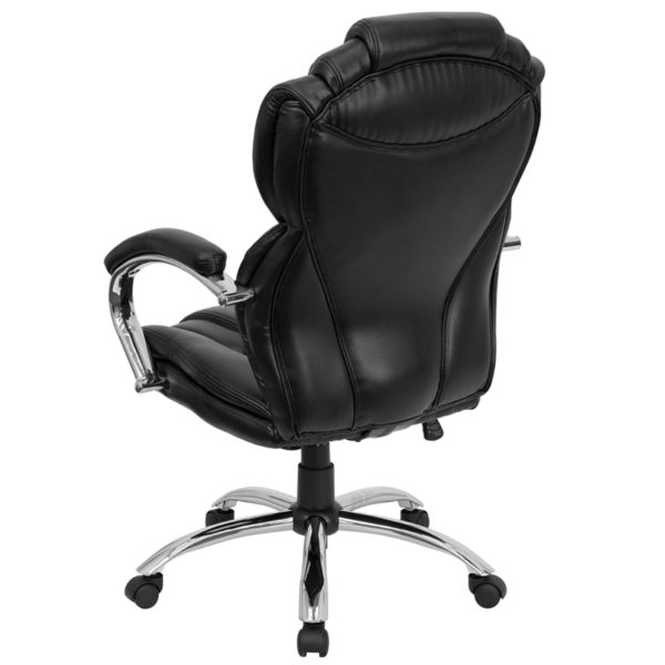 Transitional Office Chair Black High Back Leather Chair