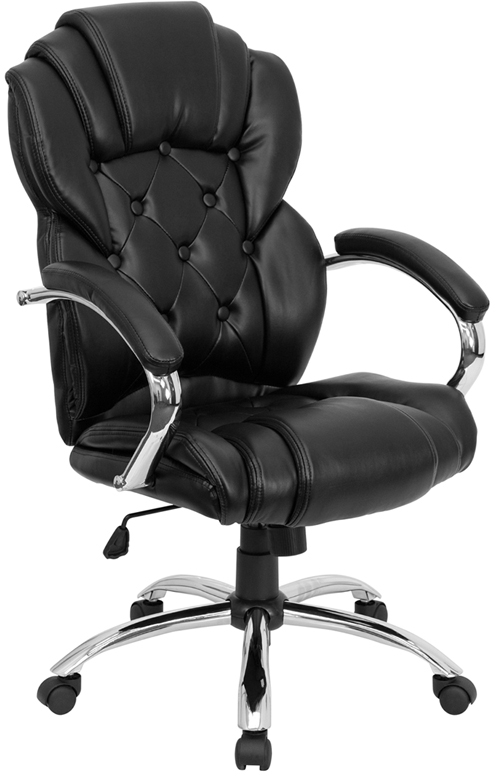 Wholesale High Back Transitional Style Black Leather Executive Swivel Office Chair with Arms