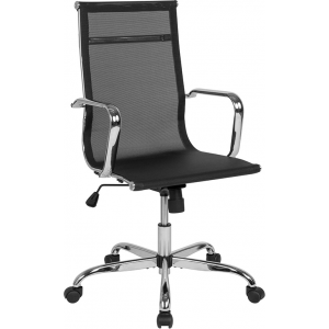 Wholesale High Back Transparent Black Mesh Mid-Century Modern Swivel Office Chair with Spring-Tilt Control and Arms