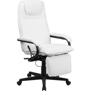 Wholesale High Back White Leather Executive Reclining Ergonomic Swivel Office Chair with Arms