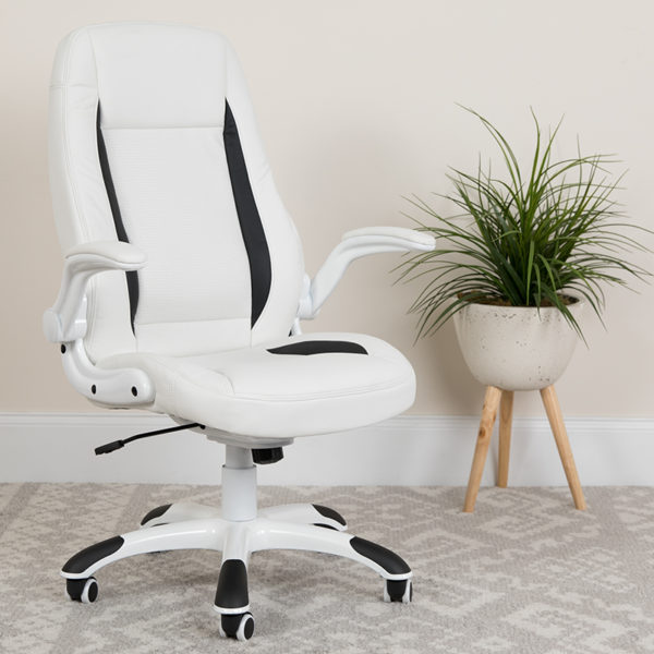 Lowest Price High Back White Leather Executive Swivel Ergonomic Office Chair with Flip-Up Arms