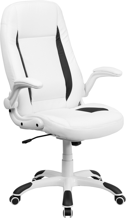 Wholesale High Back White Leather Executive Swivel Ergonomic Office Chair with Flip-Up Arms