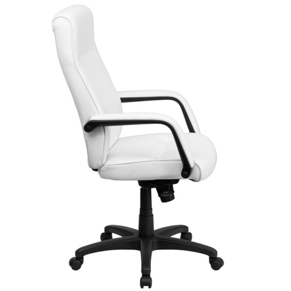 Lowest Price High Back White Leather Executive Swivel Ergonomic Office Chair with Memory Foam Padding and Arms