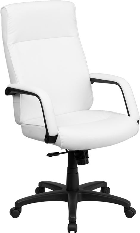 Wholesale High Back White Leather Executive Swivel Ergonomic Office Chair with Memory Foam Padding and Arms