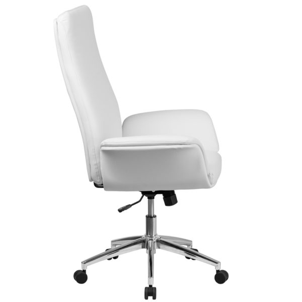 Lowest Price High Back White Leather Executive Swivel Office Chair with Flared Arms