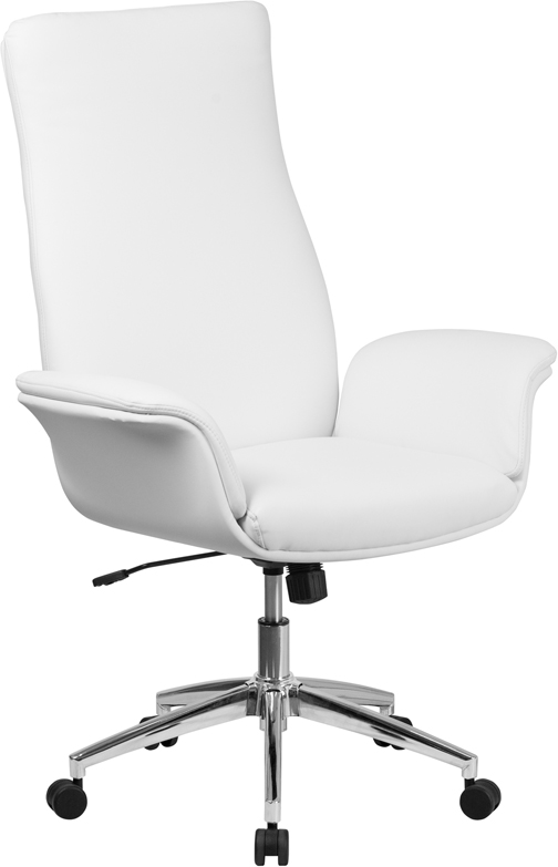 Wholesale High Back White Leather Executive Swivel Office Chair with Flared Arms