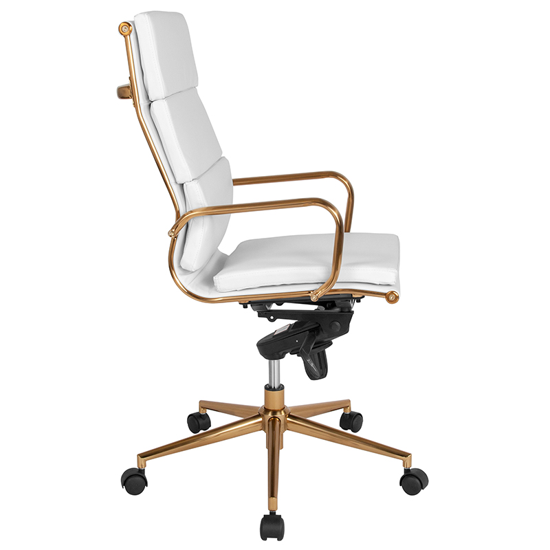 High Back White Leather Executive Swivel Office Chair With Gold Frame Synchro Tilt Mechanism And Arms Restaurant Furniture Org