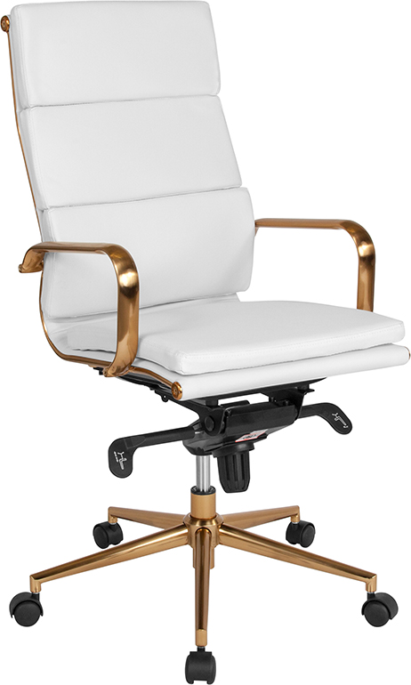 Wholesale High Back White Leather Executive Swivel Office Chair with Gold Frame