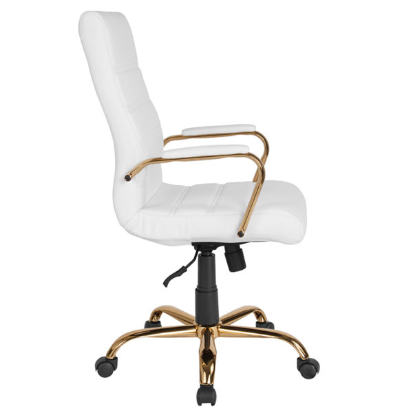 Lowest Price High Back White Leather Executive Swivel Office Chair with Gold Frame and Arms