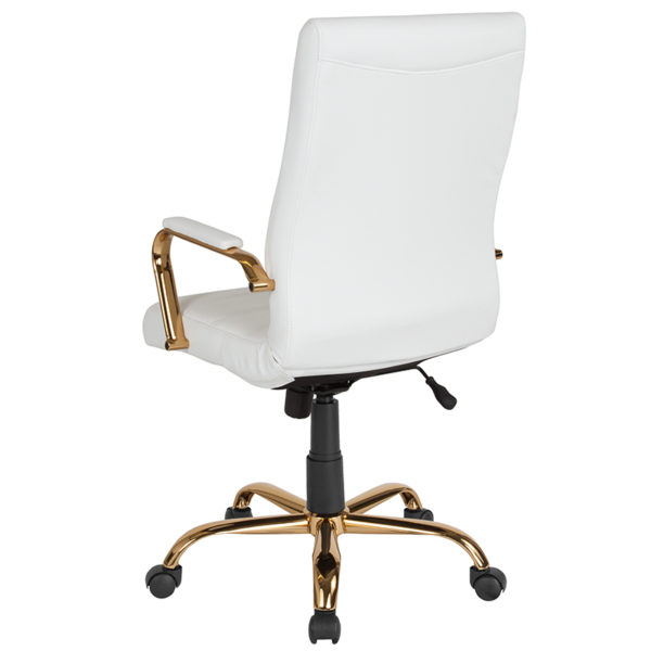 Contemporary Office Chair White High Back Leather Chair