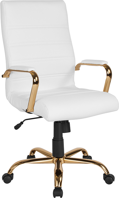 Wholesale High Back White Leather Executive Swivel Office Chair with Gold Frame and Arms