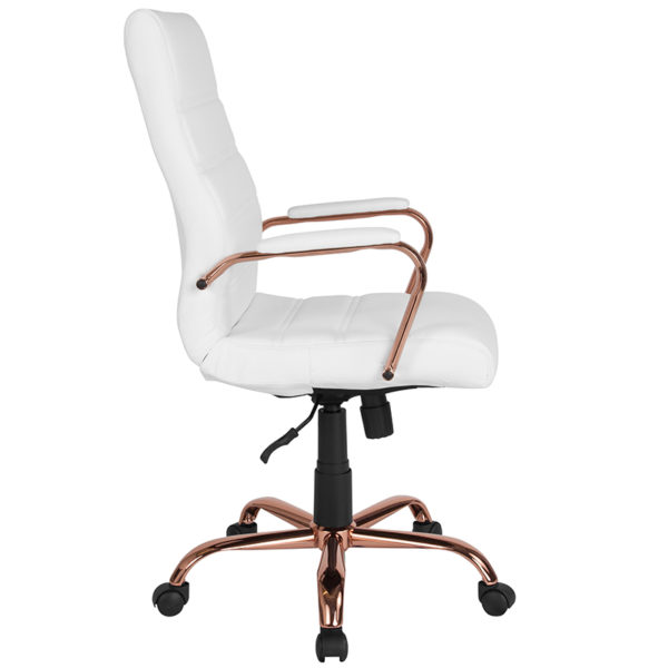 Lowest Price High Back White Leather Executive Swivel Office Chair with Rose Gold Frame and Arms