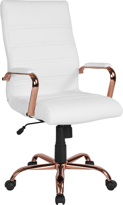 Wholesale High Back White Leather Executive Swivel Office Chair with Rose Gold Frame and Arms
