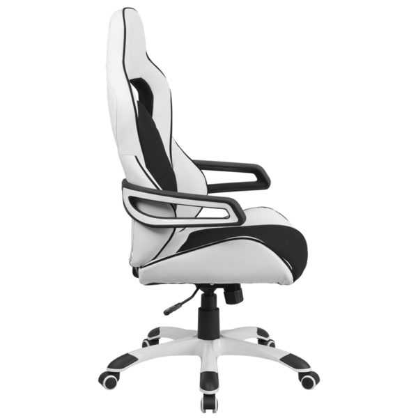 Lowest Price High Back White Vinyl Executive Swivel Office Chair with Black Fabric Inserts and Arms