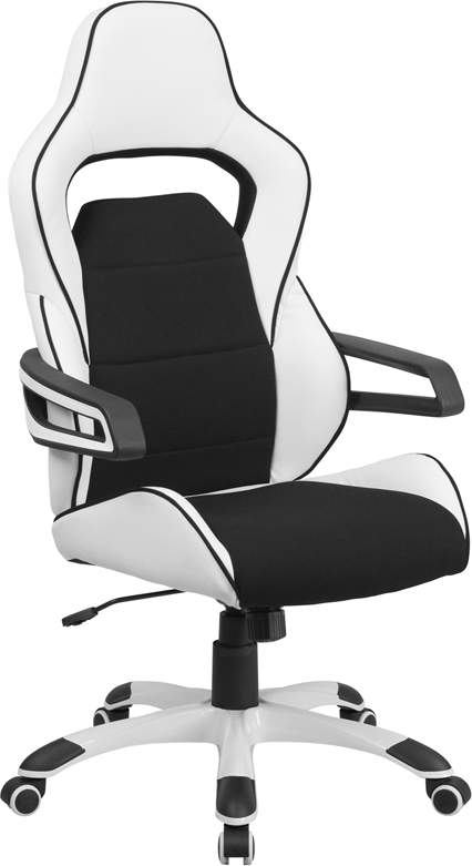 Wholesale High Back White Vinyl Executive Swivel Office Chair with Black Fabric Inserts and Arms