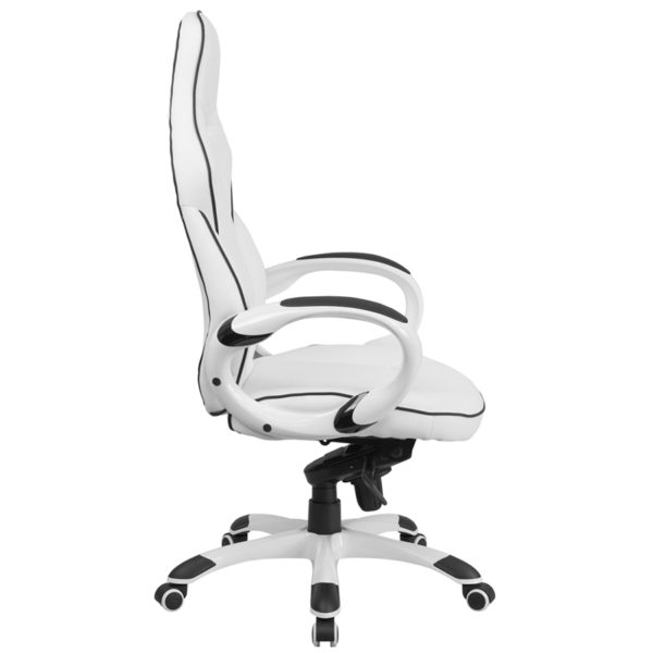 Lowest Price High Back White Vinyl Executive Swivel Office Chair with Black Trim and Arms