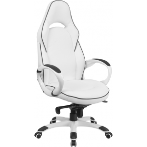 Wholesale High Back White Vinyl Executive Swivel Office Chair with Black Trim and Arms