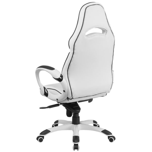Contemporary Office Chair White High Back Vinyl Chair