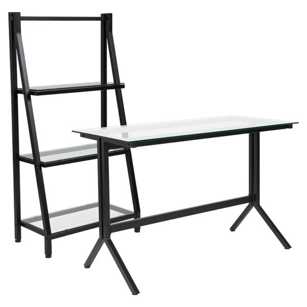 Wholesale Highland Collection Glass Computer Desk and Bookshelf with Black Metal Frame