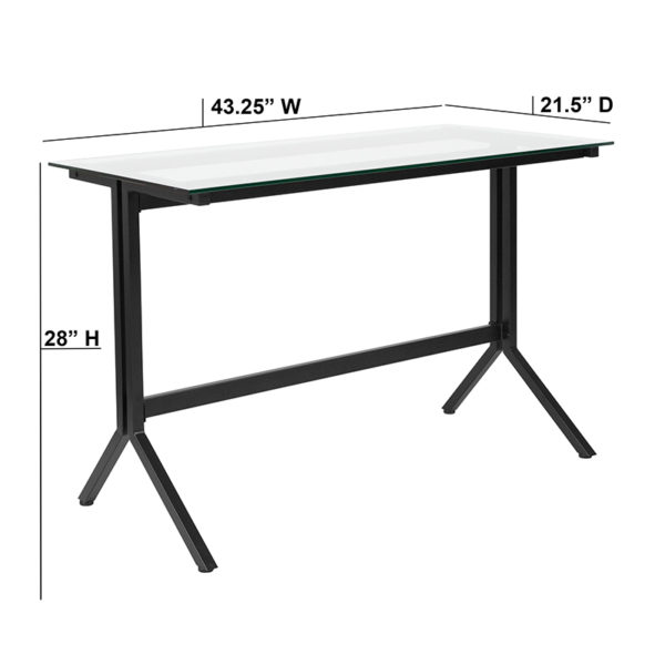 Lowest Price Highland Collection Glass Computer Desk with Black Metal Frame