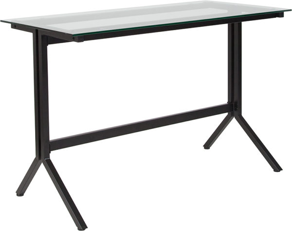 Wholesale Highland Collection Glass Computer Desk with Black Metal Frame