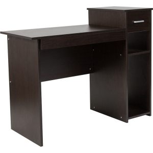 Wholesale Highland Park Espresso Wood Grain Finish Computer Desk with Shelves and Drawer
