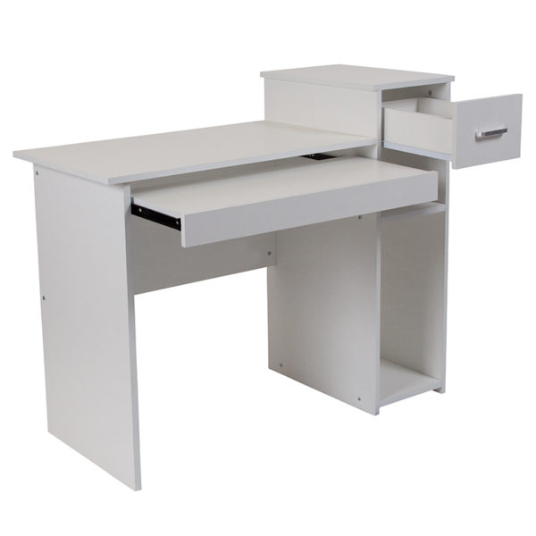 Lowest Price Highland Park White Computer Desk with Shelves and Drawer