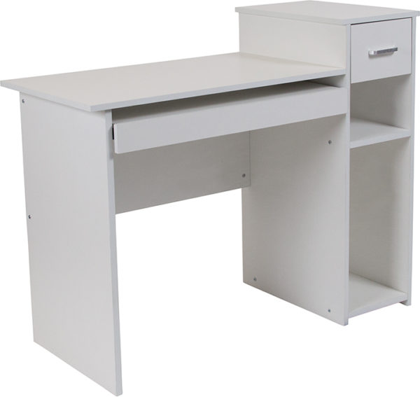 Wholesale Highland Park White Computer Desk with Shelves and Drawer