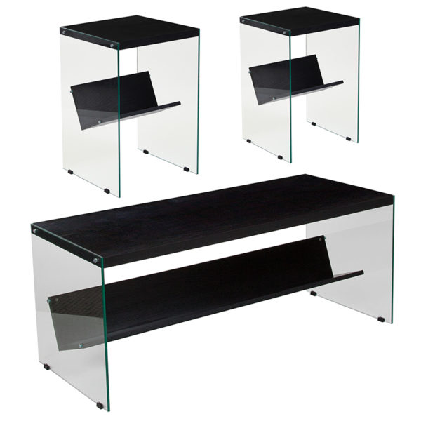 Wholesale Highwood Collection 3 Piece Coffee and End Table Set in Dark Ash Finish with Glass Frames