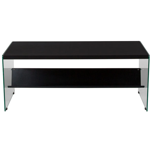 Lowest Price Highwood Collection Dark Ash Finish Coffee Table with Shelves and Glass Frame
