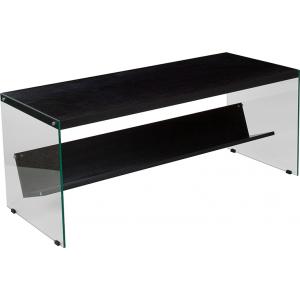 Wholesale Highwood Collection Dark Ash Finish Coffee Table with Shelves and Glass Frame