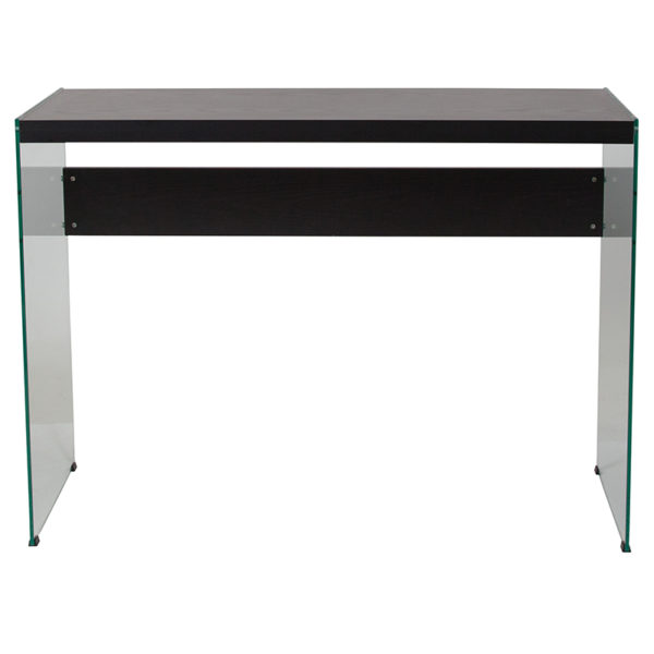 Lowest Price Highwood Collection Dark Ash Finish Console Table with Glass Frame