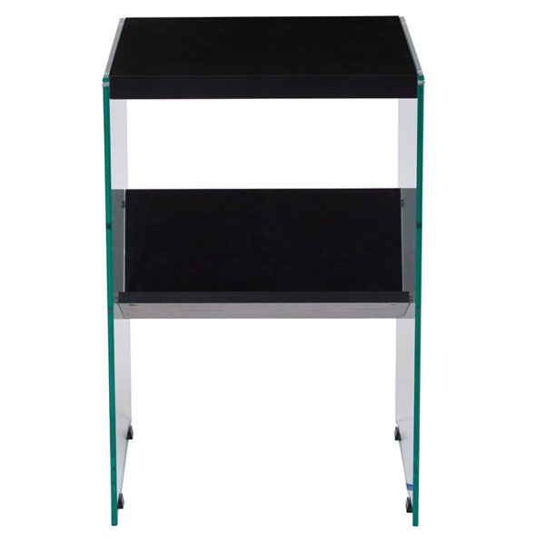 Lowest Price Highwood Collection Dark Ash Finish End Table with Shelves and Glass Frame