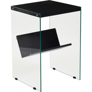 Wholesale Highwood Collection Dark Ash Finish End Table with Shelves and Glass Frame
