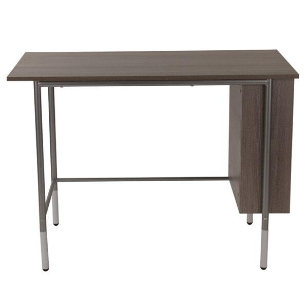 Lowest Price Hillside Light Applewood Finish Computer Desk with Side Storage Shelves