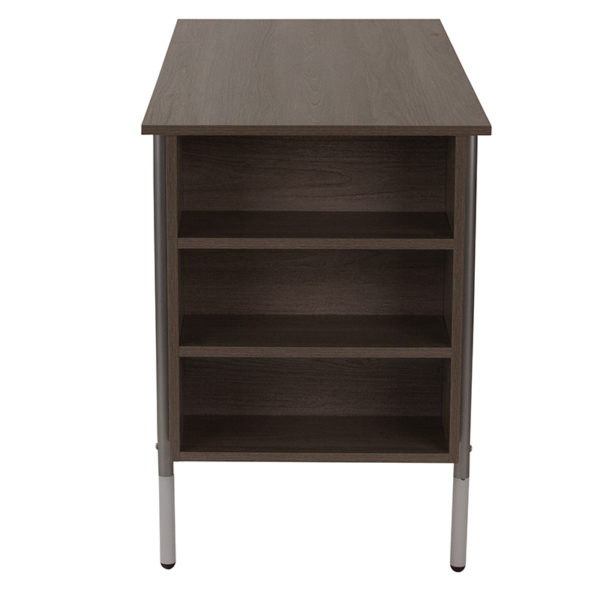 Contemporary Style Applewood Desk with Shelves