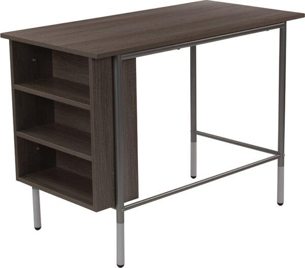 Wholesale Hillside Light Applewood Finish Computer Desk with Side Storage Shelves