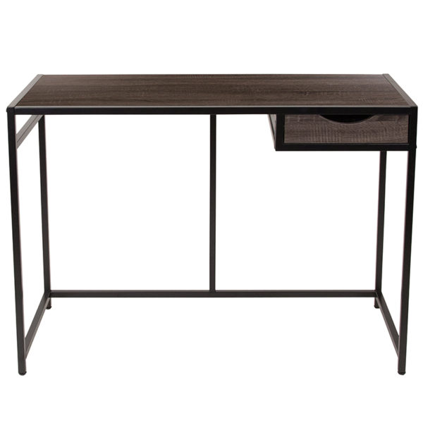 Lowest Price Homewood Collection Driftwood Finish Computer Desk with Pull-Out Drawer and Black Metal Frame