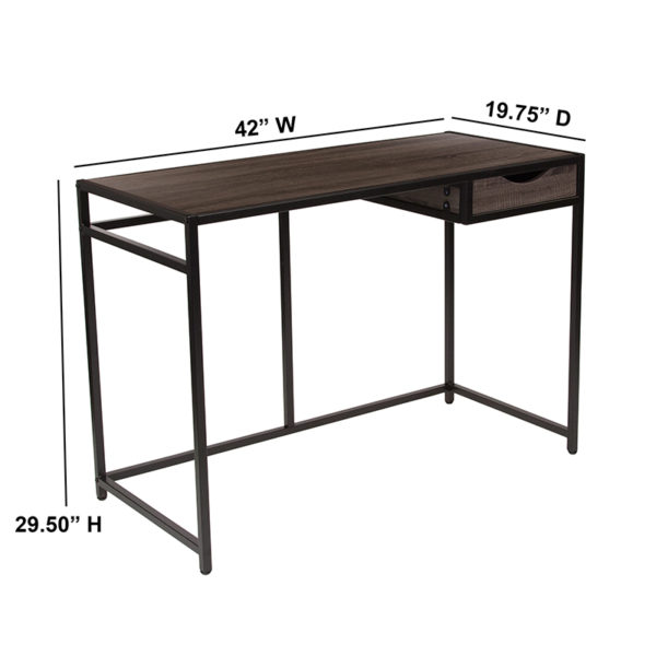 Contemporary Style Driftwood Desk with Drawer